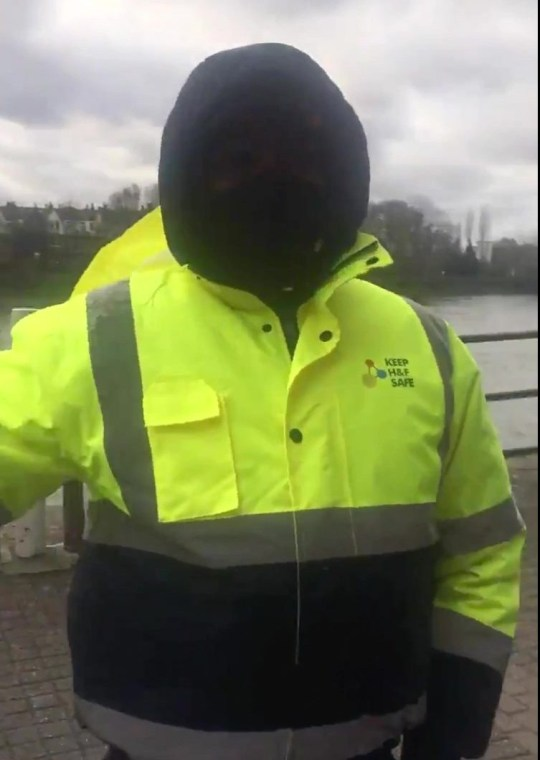 Jogger Gary Purnell has told how he was stopped by a Covid marshal because he was ???breathing heavily??? while on his permitted hour-a-day exercise in Hammersmith, west London. PIX SHOWS THE COVID MARSHALLS. TRIANGLE NEWS 0203 176 5581 // contact@trianglenews.co.uk By Andy Crick With video and pix A JOGGER has told how he was stopped by a Covid marshal because he was ???breathing heavily??? while on his permitted hour-a-day exercise. Gary Purnell was running along the River Thames on his own when he was collared. He was told that under new measures, the marshals were advising people not to jog there. The fuming author insisted he was doing nothing wrong and was following Government advice. Gary then confronted the marshal???s supervisor and branded the barmy advice as the ???craziest??? thing ever. He was out running at Hammersmith, West London when he was stopped and filmed the confrontations.