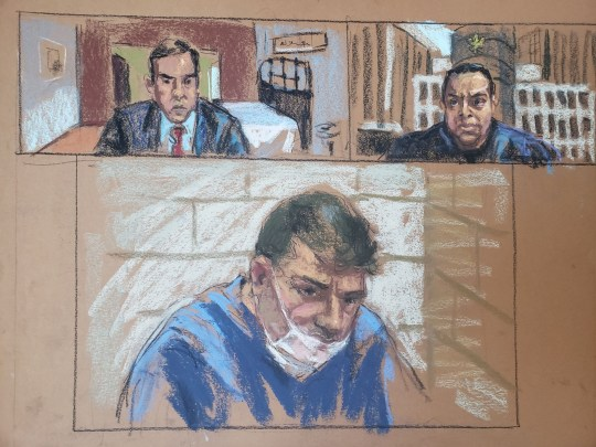 Eduard Florea appears during a virtual hearing on weapons charges before Magistrate Judge Sanket Bulsara and Assistant U.S. Attorney Francisco Navarro in a New York court in this January 13, 2021 courtroom sketch. REUTERS/Jane Rosenberg