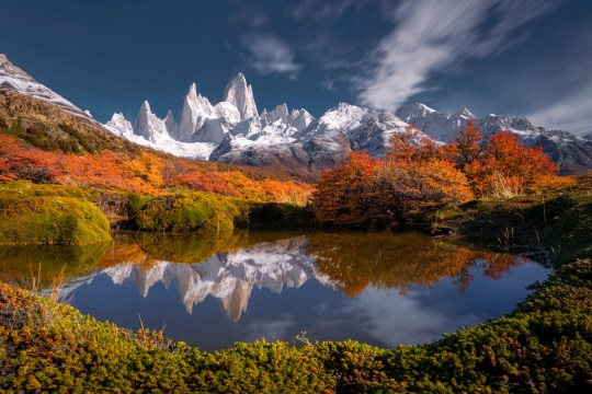 Reflecting of Fitz Roy in Autumn, Patagonia, Argentina.