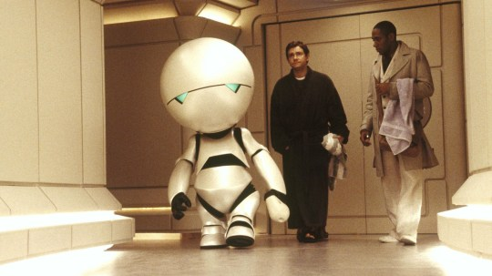 Alan Rickman as Marvin the Paranoid Android in Hitchhiker's Guide to the Galaxy