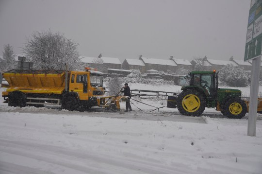 DRIVERS CAUGHT IN THE SNOW ON AINLEY TOP HUDDERSFIELD THURSDAY,A SNOWPLOUGH HAD TO BE TOWED OUT AND A HGV HAD JACKNIFED. JOHN MATHER 07810 861711