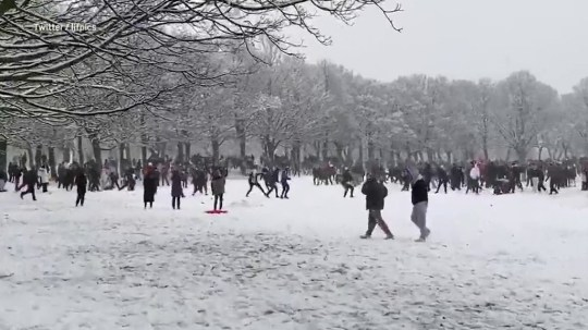 Huge snowball fight as hundreds crowd into park in Leeds picture: ljfpics metrograb