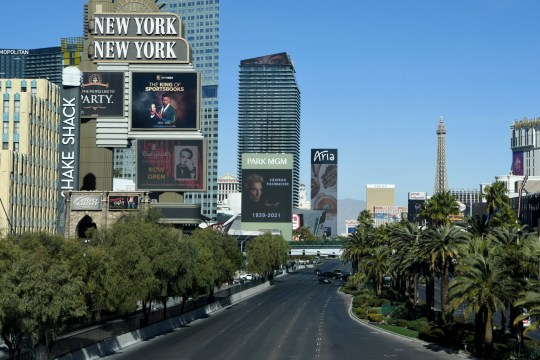 File photo of buildings, trees and roads on the Las Vegas strip