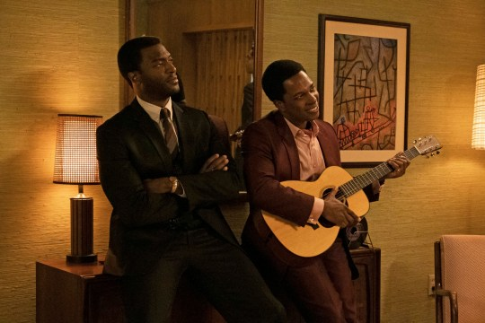 Aldis Hodge, left, and Leslie Odom Jr. in a scene from One Night in Miami