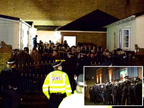 '100 police officers storm wake' after '70 mourners' cram onto caravan site