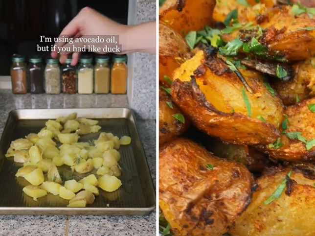 stills from a tiktok showing How to make crispiest roast potatoes ever