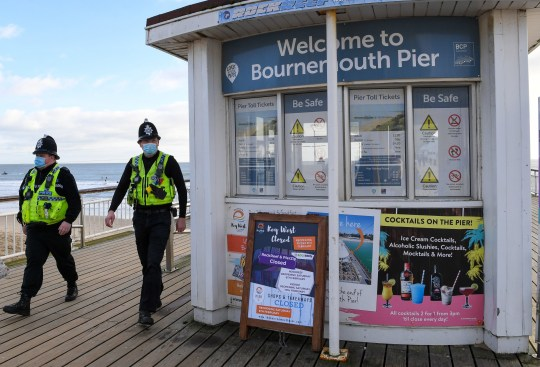 Police patrol the promenade and seafront on January 16, 2021 in Bournemouth, Dorset.