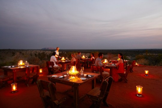 Ayers Rock Resort open-air diner where you can enjoy wallaby with fermented quandong (a peach-like fruit) and pan-roasted toothfish with muntries (otherwise known as emu apples), before an Indigenous storytelling session. From ?130pp, ayersrockresort.com.au outback dinner credit Ayers Rock Resort https://www.ayersrockresort.com.au/stories/ultimate-outdoor-dining-experiences-in-uluru https://www.ayersrockresort.com.au/experiences/sounds-of-silence