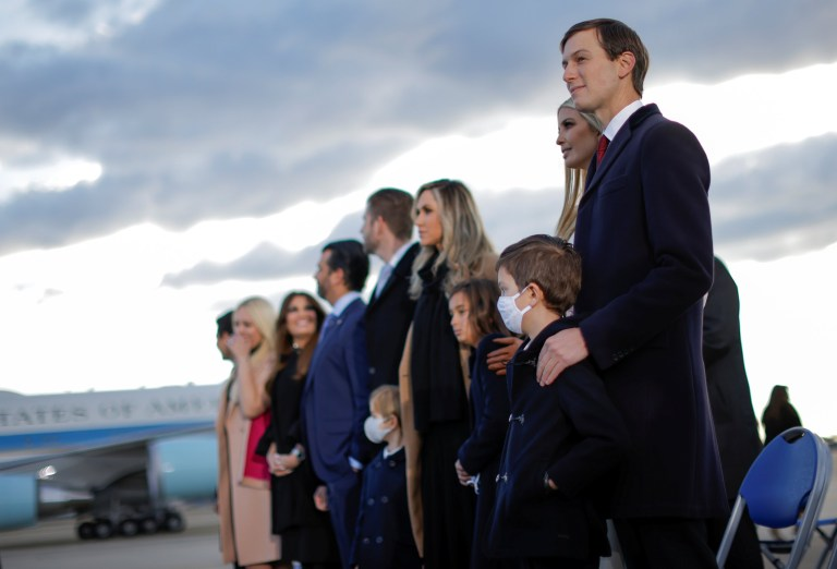 Ivanka Trump and her husband Jared Kushner attend the departure ceremony of U.S. President Donald Trump at the Joint Base Andrews, Maryland, U.S., January 20, 2021. REUTERS/Carlos Barria