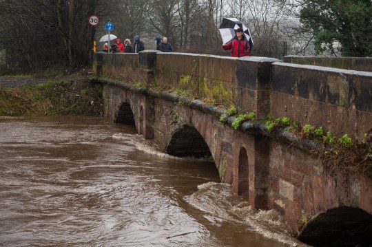 MERCURY PRESS. Gtr Manchester, UK. 20.1.21. Pictured: People watch the River Mersey rise below a bridge in Didsbury, Greater Manchester this afternoon where a red flood warning has been issued.