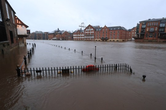 Floodwaters in York, in anticipation of Storm Christoph which is set to bring further flooding, gales and snow to parts of the UK. Heavy rain is expected to hit the UK, with the Met Office warning homes and businesses are likely to be flooded, causing damage to some buildings. Picture date: Wednesday January 20, 2021. PA Photo. People are being urged to prepare as an amber weather warning for rain was issued for Tuesday to Thursday affecting an area around Manchester, Leeds and Sheffield and stretching down to Peterborough. Photo credit should read: Danny Lawson/PA Wire