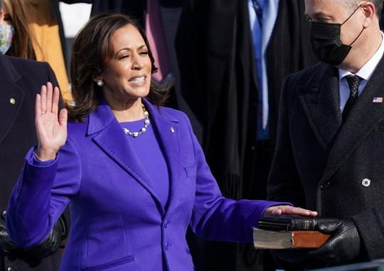 Kamala Harris being sworn in as VP