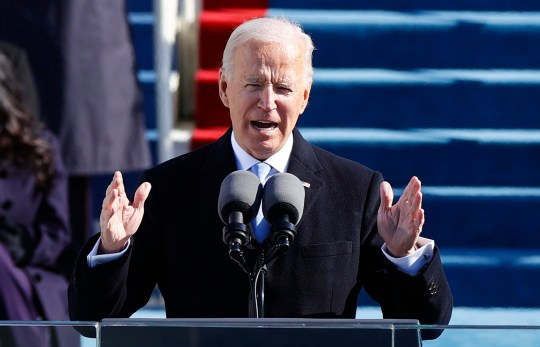 U.S. President Joe Biden delivers his speech after he was sworn in as the 46th President of the United States on the West Front of the U.S. Capitol in Washington, U.S., January 20, 2021. REUTERS/Jim Bourg