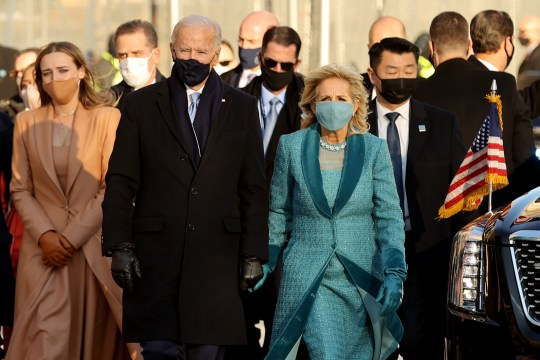 The Biden family pictured walking into the White House