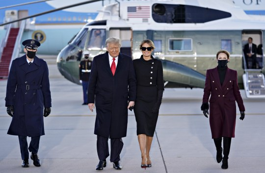 Mandatory Credit: Photo by REX (11718428c) U.S. President Donald Trump, center left, and U.S. First Lady Melania Trump arrive to a farewell ceremony at Joint Base Andrews, Maryland, U.S.,. Trump departs Washington with Americans more politically divided and more likely to be out of work than when he arrived, while awaiting trial for his second impeachment - an ignominious end to one of the most turbulent presidencies in American history. President Trump Holds Departure Ceremony Before Florida Travel, Joint Base Andrews, Maryland, USA - 20 Jan 2021