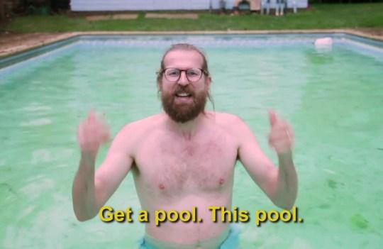 SANDERSON JONES in his pool DURING HIS HILARIOUS PROMO VIDEO