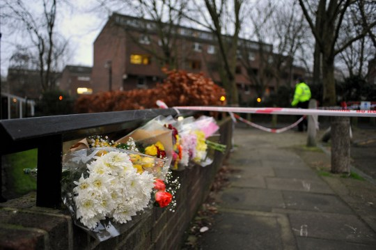 Picture shows:Floral tributes at the crime scene where Romario Opia,15, was stabbed to death on the Elthorne Estate in North London. Picture By Kerry Davies 26/1/2021