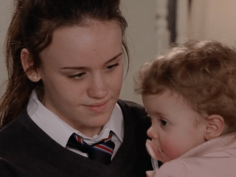 When was Faye pregnant before in Coronation Street and who is Miley?