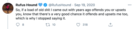 Rufus Hound addresses past offensive tweets in statement on Twitter