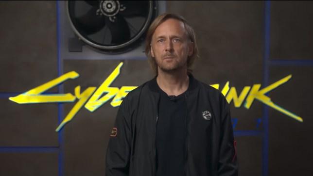 Marcin Iwiński in Cyberpunk 2077 video