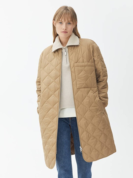 Long quilted beige jacket from Arket