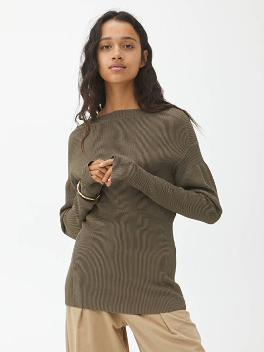Green puff sleeve jumper from Arket