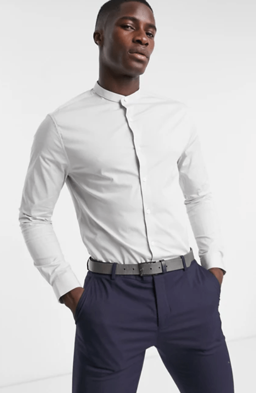 asos design stretch skinny fit shirt in grey
