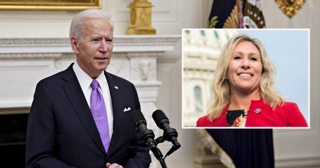 Joe Biden  and an inset of Marjorie Taylor Greene
