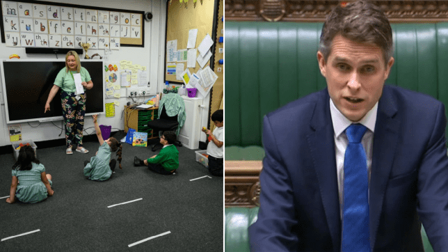 Primary school pupils sitting socially distanced in class (left) and Education Secretary Gavin Williamson in the House of Commons