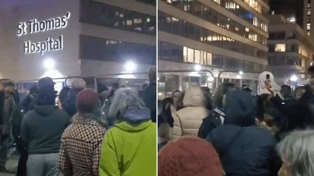 Maskless crowds shout 'Covid is a hoax' outside hospital on New Year's Eve