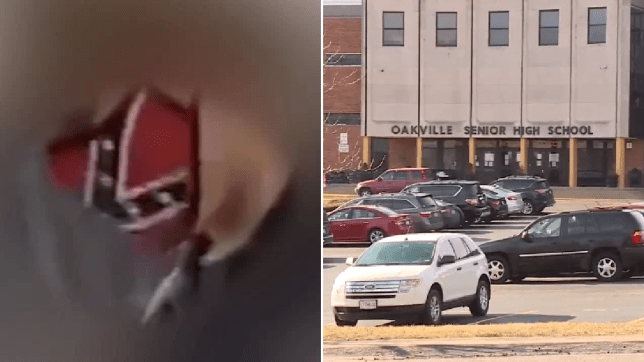 Fuzzy image of boy in face mask next to photo of outside of school