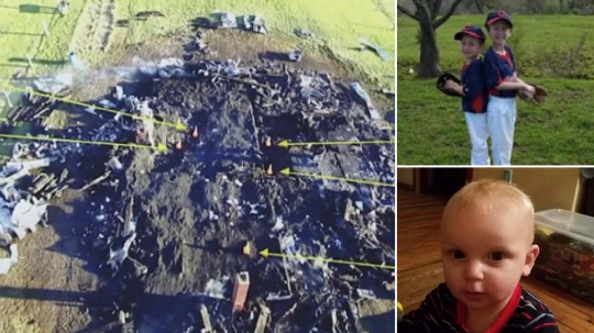 Burned out family home and three of the five kids whose bodies were found inside it