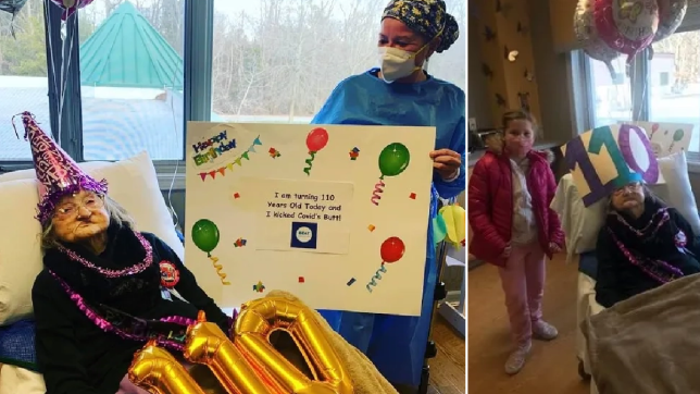 Elderly woman with birthday balloons and same woman with hat and great-niece