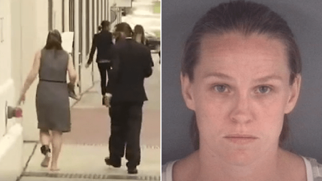 Woman walking down street in dress and ankle tag next to woman's mugshot
