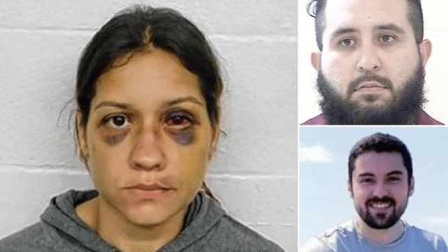 Composite image of woman with bruised face, man's mugshot, and smiling man outside