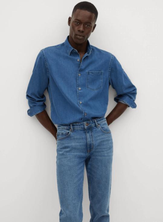 denim lyocell regular fit shirt from mango
