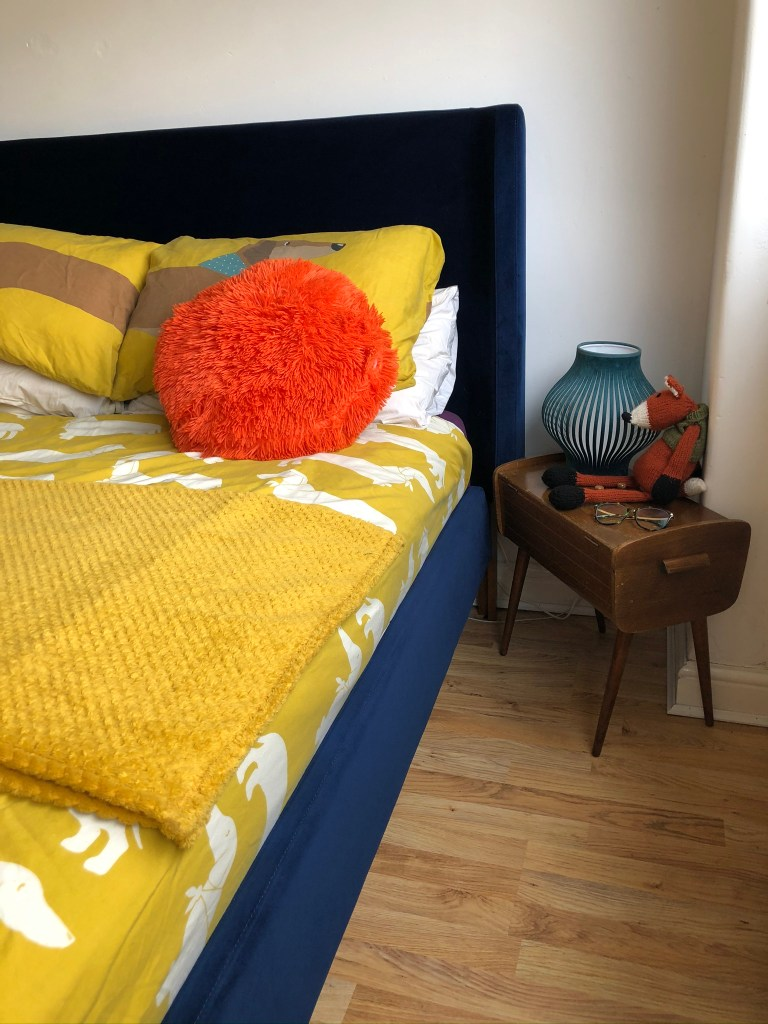 What I Rent: Iona and Jack, Oldham, Manchester bedroom with yellow bedding