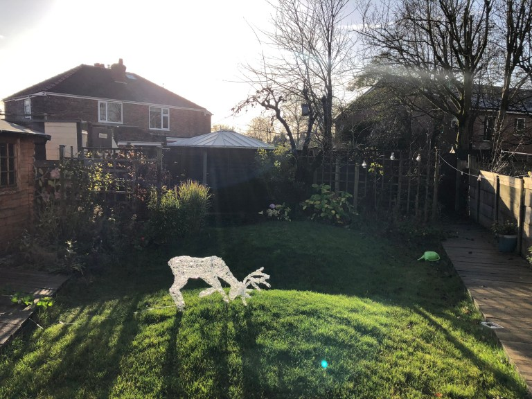 What I Rent: Iona and Jack, Oldham, Manchester - back garden with deer sculpture on grass