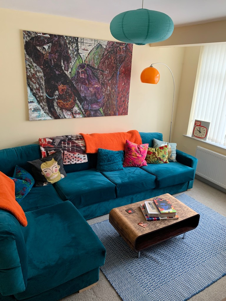 What I Rent: Iona and Jack, Oldham, Manchester - blue velvet sofa in living room