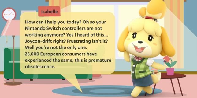 Nintendo Switch Joy-Con drift Isabelle graphic