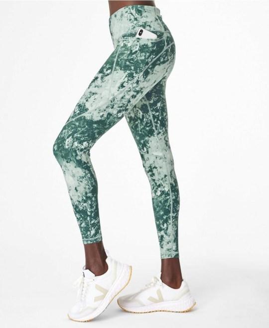 Green Tie dye print Sweaty Betty leggings