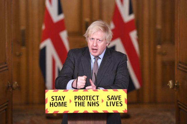 Boris Johnson speaking at a Covid press conference