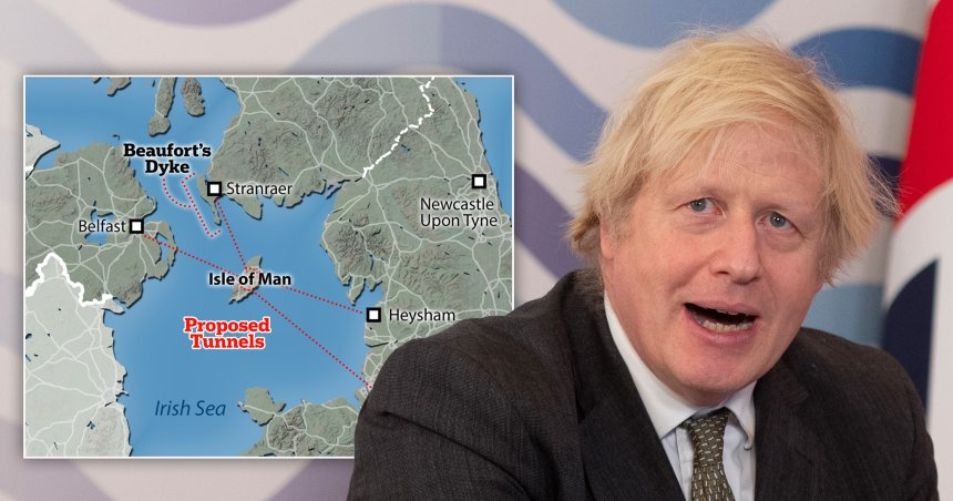 Boris Johnson is said to be planning to build a roundabout under the Isle of Man to connect Britain to Northern Ireland to smooth out post-Brexit trade.