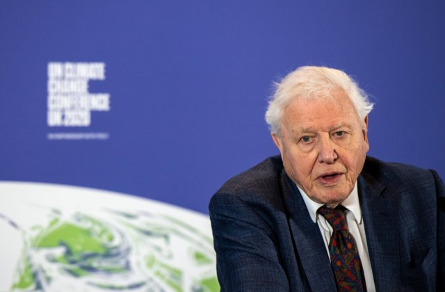 Sir David Attenborough at the launch of the next COP26 UN Climate Summit at the Science Museum, London.
