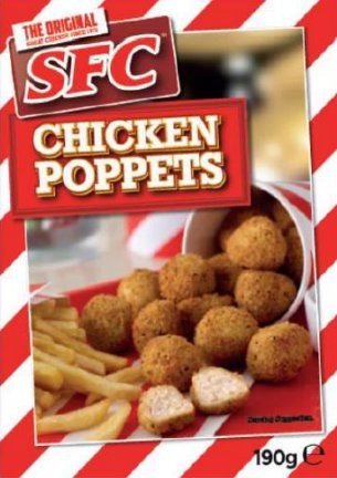 SFC Chicken Poppets. Five deaths may be linked to salmonella found in various chicken products.