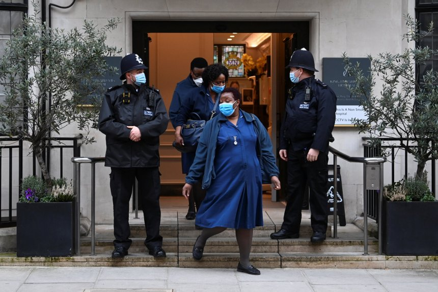 Medical workers leave King Edward VII's Hospital, where Britain's Prince Philip was admitted, in London, Britain, February 20, 2021. REUTERS/Toby Melville