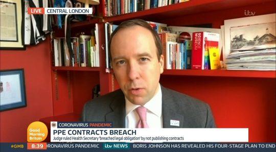 Matt Hancock appears on Good Morning Britain