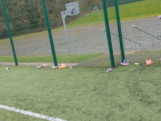 Litter left behind at a football pitch after police stopped youths playing