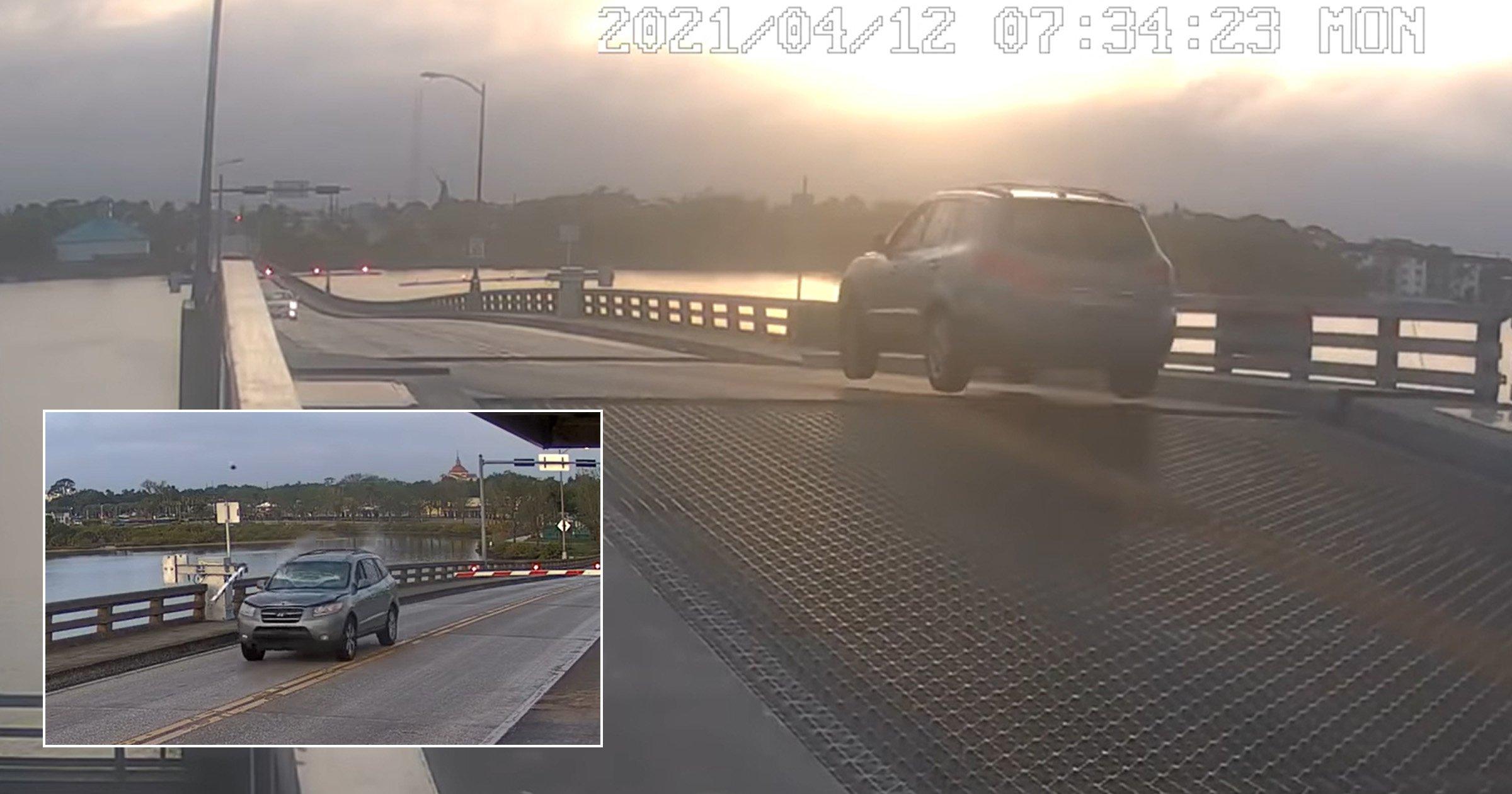 Moment daredevil driver leaps over drawbridge as it opens