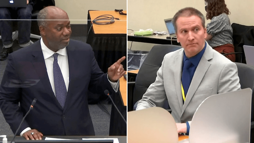 An image of prosecutor Jerry Blackwell delivering a rebuttal to closing arguments (left). An image of Derek Chauvin listening to closing arguments (right).